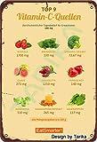 Vitamina C Quellen Eatsmarter Tin Look Retro 20 x 30 CM Placa decorativa para el hogar, cocina, baño, granja, jardín, garaje, citas inspiradoras para decoración de pared