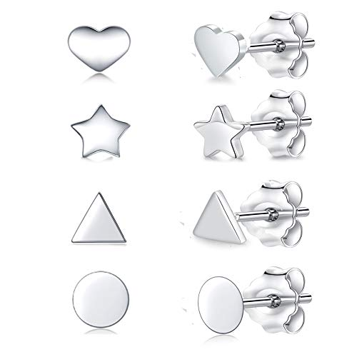 Tiny Sterling Silver Stud Earrings for Women & Men- 4 Pairs Hypoallergenic White Gold Plated Cartilage Stud Earrings Set Ear Piercing Jewellery (3mm*4)