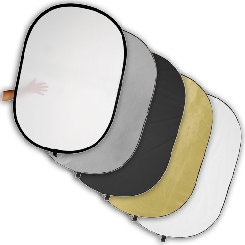 Fotodiox 48x72in 5-in-1 Collapsible Reflector Panel with Bag for Photography and Video - Black, Gold, Silver, Translucent, and White Panel