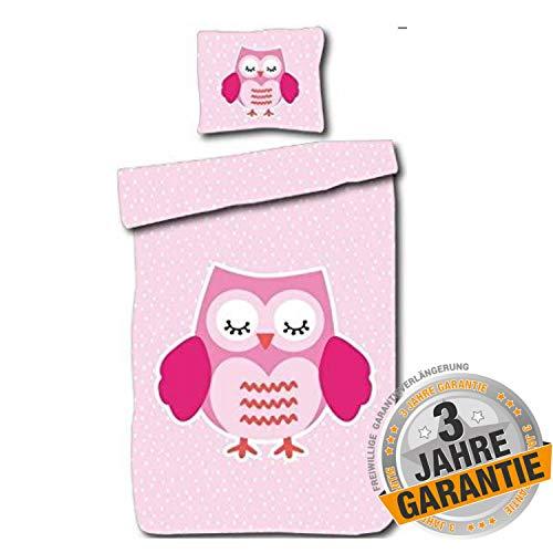 Aminata Kids Bettwäsche Eulen-Motiv 135x200 Baumwolle Mädchen, mit Reißverschluss, Eule rosa für Mädchen-Zimmer - Kinder-Bettwäsche Vogel-Motiv, Eulenbettwäsche, Rose, pink - Jugendliche