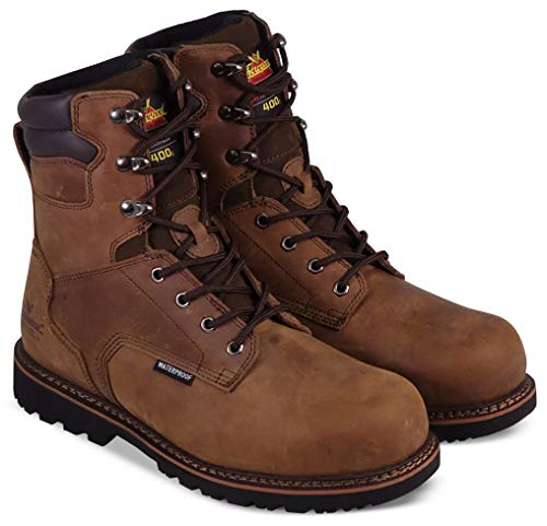"""Thorogood 804-3238 Men's V-Series 8"""" 400g Insulated Waterproof, Composite Safety Toe Boot, Brown Crazyhorse - 12 M US"""