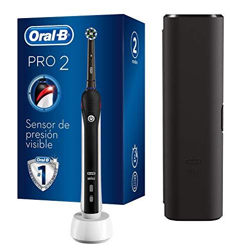 Oral-B Pro 2 2500 Spazzolino Elettrico Ricaricabile, 1 Spazzolino con Sensore di Pressione dello Spazzolamento Visibile, 1 Testina, 1 Custodia da Viaggio, Idea Regalo San Valentino
