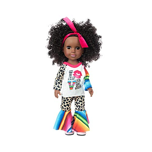 Roiper Cuddly Curly Doll African Girl for Kids Funny 35Cm Perfect for Birthday New Year Gift Fully Poseable with Accessories and Clothes for Girls 3-Year-Old and Up