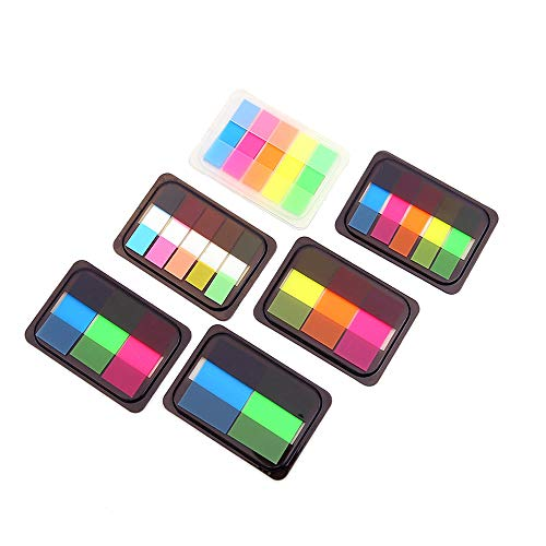 DXIA 6 Conjuntos Flag Tabs Marcadores de página, Separadoras Adhesivas Pop-up Pestañas de índice, Etiquetas Grabable Marcador de Página Tiras de Resaltador de Texto, Neon Note Tabs Page Banderas