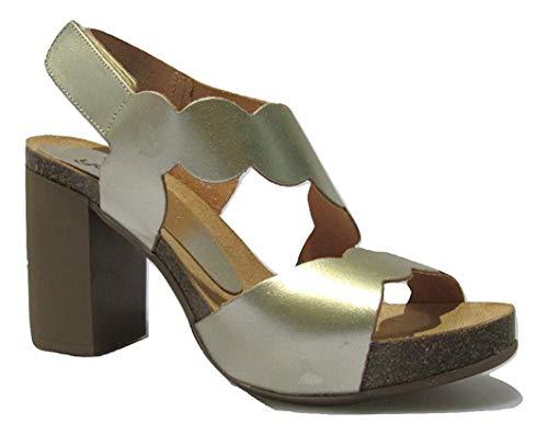 Yokono Triana 065 - Sandalias de Cristal con Banda para el Tobillo para Mujer, Color Dorado