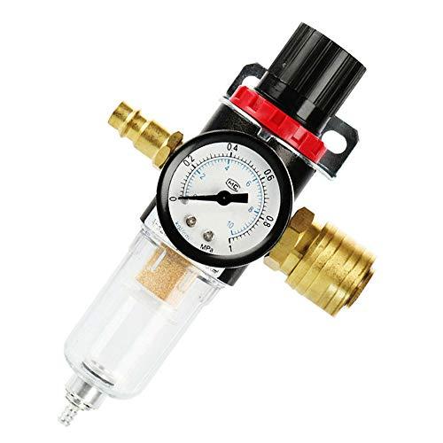 """Unità di manutenzione dell'aria compressa riduttore di pressione da 1/4"""", regolatore dell'aria compressa con separatore dell'acqua e attacchi rapidi tedeschi per filtro compressore."""