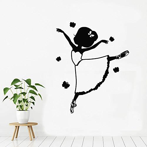 Quszpm Pegatinas de Pared para niñas, Estudio de Pose de Baile, Aula, guardería, Vinilo Interior, Mural artístico, decoración de habitación para niños, 42 cm x 62 cm