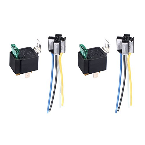 ESUPPORT 12V 30A Car Motor Heavy Duty Relay Socket Plug 4Pin Fuse Switch On/Off SPST Wire Harness Metal Pack of 2