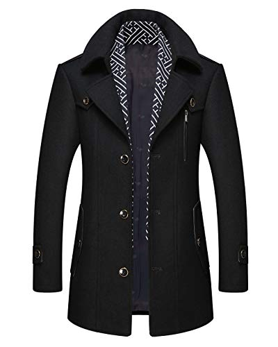Mordenmiss Men's Wool Single Breasted Winter Trench Jacket Woolen Pea Coat Style 2 Black L