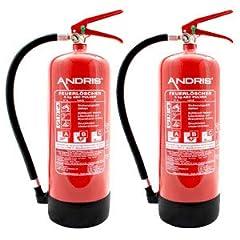 2X Orig. ANDRIS® gaśnica marki 6kg GAśnica proszkowa ABC z manometrem EN 3 z wspornikiem ściennym, andris® certyfikat testowy z roczną pieczęcią & orig. ANDRIS® ISO Gaśnica Symbol Znak Folia Znak
