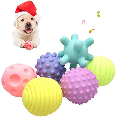 Aidiyapet Hundespielzeug Ball Hundeball Quietschend Set Hundespielzeug Ball Quietschball für Große und Kleine Hunde, 6 Packungen, 6,5cm (Blau)