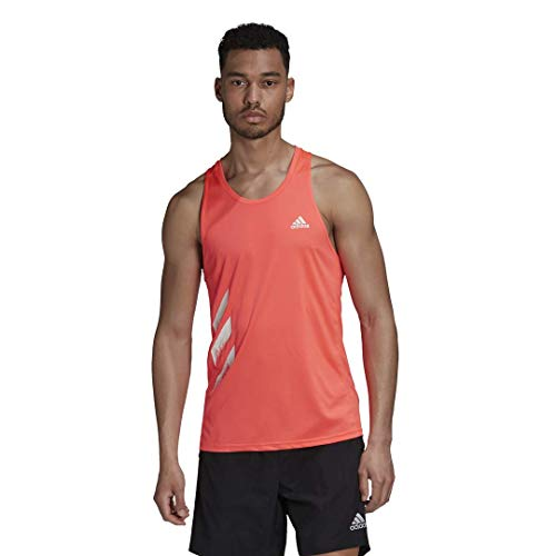 adidas Men's Own The Run Singlet Personal Best 3-Stripes, Signal Pink, X-Large