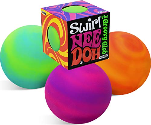 Nee-Doh Schylling Swirl Groovy Glob! Squishy, Squeezy, Stretchy Stress Balls Neon Yellow/Green, Orange/Pink & Purple/Pink Complete Gift Set Party Bundle - 3 Pack
