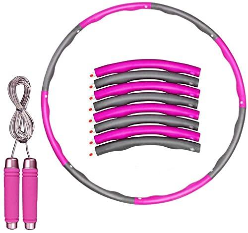 X-LIVE Hula Hoop Reifen Erwachsene abnehmen,Reifen mit Schaumstoff mit Springseil,Einstellbares Gewicht Hula-Reifen für Fitness