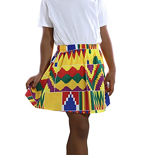 Toddler Kids African Attire Ethnic Dashiki Print Tutu African Skirt +Headband 2Pcs Clothing Sets Yellow