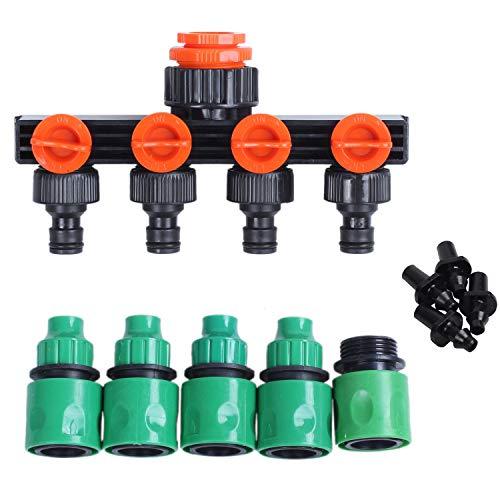 Vasko - Adaptador de grifo de agua de jardín de 4 vías, divisor de tuberías, conectores rápidos, suministros de riego de jardín, conector de manguera de 1/4 o 3/8 pulgadas