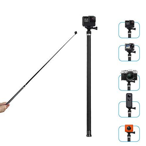 "TELESIN Ultra Long Selfie Stick para GoPro Hero 7 Hero 6 Hero 5 Negro (2018), Hero 4 3+ Session, DJI OSMO ACTION Cámara, extensible a 3 longitudes de 22"" 47"" 106"" monopod ligero de fibra de carbono"