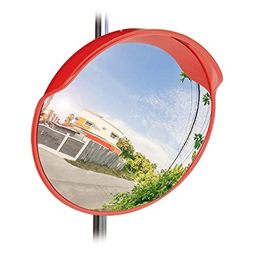 Relaxdays 10023700 Specchio Stradale Convesso 60 Cm, Resistente alle Intemperie, Infrangibile, per Esterni & Interni, con Staffa di Fissaggio, per Angoli Ciechi, Rosso