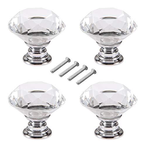 4 pezzi 40mm Pomelli cristallo, pomelli per cassetti,per armadi o per mobili,Pomelli di Cristallo Trasparente Manopole a Forma Diamanti con Viti Set,Accessori per la decorazione di mobili da cucina