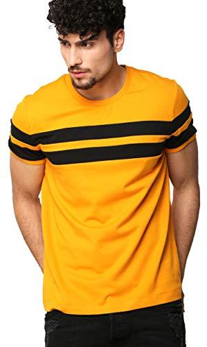 AELOMART Men's Cotton T-Shirt (Mustard, Large)