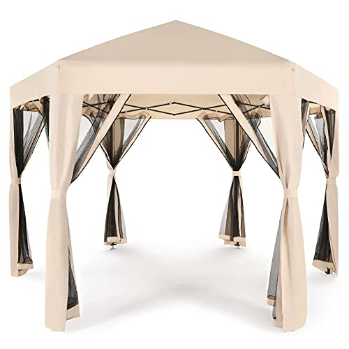 STOOG 10' X 12' Outdoor Pop Up Gazebo Canopy Tent with Curtains and Netting, for Patio, Garden,Lawns,Parties (Beige)