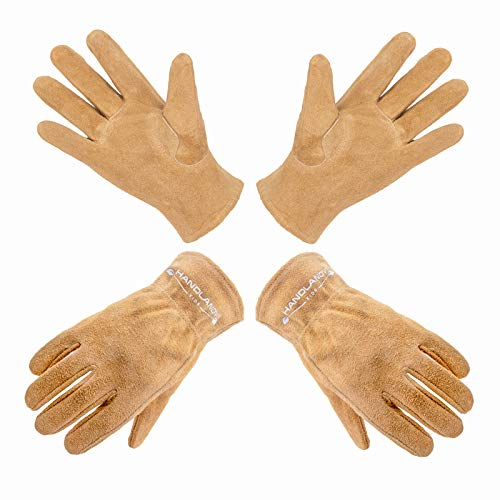 HANDLANDY Genuine Kids Leather Work Gloves for ages 3-11, Children Gardening Gloves for Boys, Girls (Small ( for age2-4 ), 2 pairs)