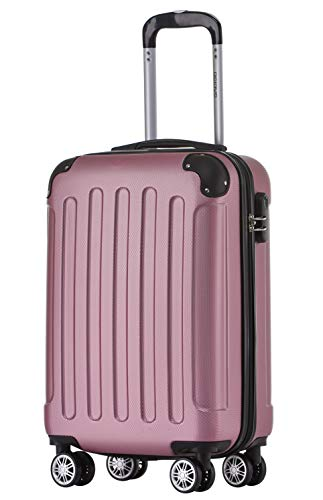 BEIBYE Hartschalen-Koffer Trolley Rollkoffer Reisekoffer Handgepäck 4 Rollen (M-L-XL-Set) (Rosa, M)