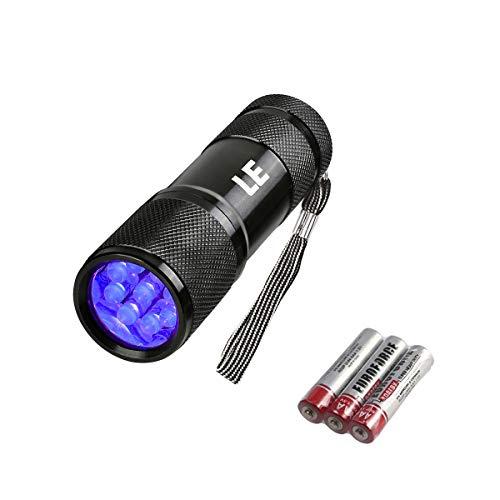 LE Linterna Ultravioleta, Led UV Detectar Orina y Manchas de Mascota 9 LED, 395nm Luz Negra, Linterna Militar 3 Pilas incluidas