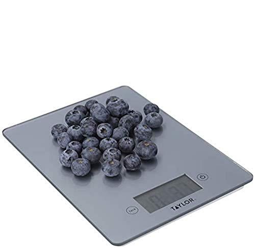 Taylor Pro Balanza Digital de Cocina de Diseño fino, Compacta, Nivel Profesional, Función de Peso con Tara con Alta Precisión, Vidrio Plata, 5 kg de Capacidad