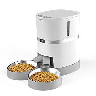 WellToBe Automatic Cat Feeder, Pet Feeder Food Dispenser for Cat & Small Dog with Two-Way Splitter and Double Bowls, up to 6 Meals with Portion Control, Voice Recorder - Battery and Plug-in Power