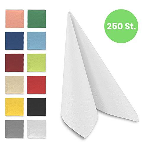 Tafel-Servietten, 3-lagig, 40 x 40 cm, Inhalt 250 St, in unterschiedliche Farben, jeweils abgestimmt auf Einrichtung & Dekoration, für Gastronomie & Zuhause, hochwertiges Material, weiß