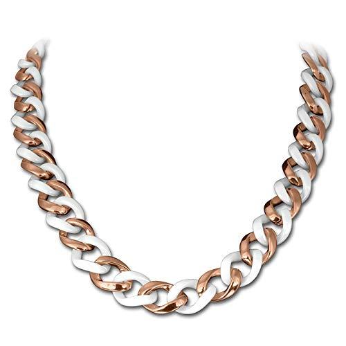 Amello Panzer Halskette weiß 50cm Edelstahl 333er Rosegold Keramik ESKX20W0