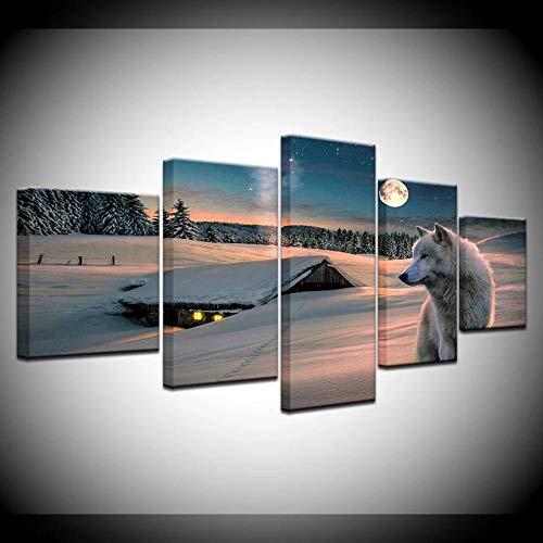 Paintings - Póster decorativo para pared (5 unidades, 150 x 80 cm), diseño de lobo en la nieve