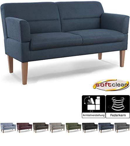 CAVADORE 2,5-Sitzer Küchensofa Kira / Sitzbank für Küche, Esszimmer oder Wohnküche inkl. Armteilverstellung / Leichte Fleckenentfernung dank Soft Clean / 168 x 94 x 81 / Flachgewebe: Blau