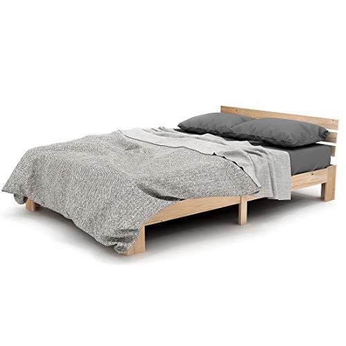 ModernLuxe Holzbett Doppelbett mit Kopfteil aus Bettgestell mit Lattenrost - Anzug für 200 x 140 cm Matratze Massivholz FSC Massiv Doppelbett als Ehebett verwendbar, inkl. Rückenlehne (Natur)