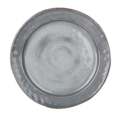 Pujadas P22.835 Plat de service en mélamine style méditerranéen, gris, diamètre 28 cm, hauteur 2,5 cm