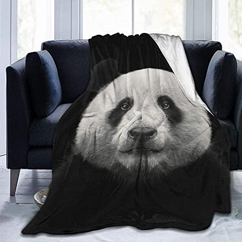 Manta de Felpa Suave Cama Cara de Oso Panda Manta Gruesa y Esponjosa Microfibra, Suave, Caliente, Transpirable para Hogar Sofá , Oficina, Viaje