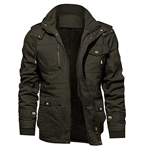 KEFITEVD Vinterjacka i fleece för män tjock varm kappa militärjacka med flera fickor med avtagbar huva