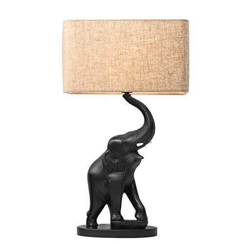 Lampe de bureau en éléphant sculpté en résine, abat-jour en tissu de lin, hauteur 22,61\