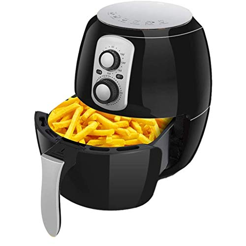 SHUUY 3.8L Air Fryer for Healthy Low Fat Cooking, Adjustable Temperature Control and Timer - 100 Recipes for Your Air Fryer Book (Color : Black)