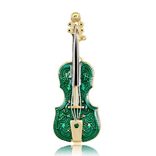 N\A Green mini violin shape Brooch Pin Enamel glaze craft brooch for Clothing Jewelry