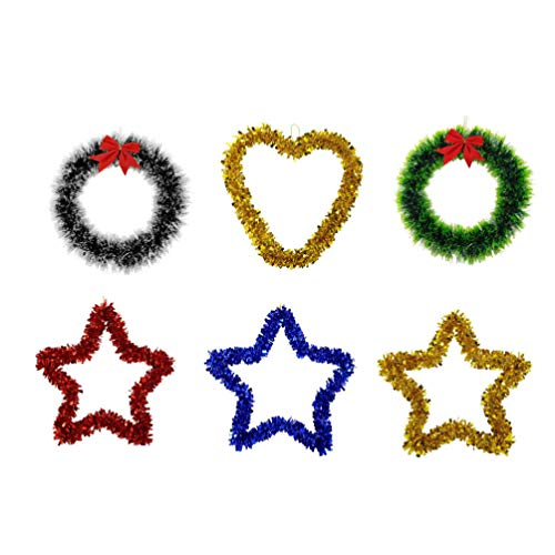 PRETYZOOM Christmas Wire Wreath Set Star Heart Shape Sparkling Tinsel Garland Door Hanger Xmas Tree Wall Hanging Ornament for Xmas Party Indoor Outdoor Decor (Random Style Color)
