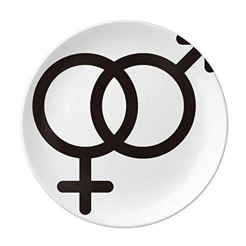 Gender Difference Equality Between Men Women Rainbow Plate Decorative Porcelain Salver Tableware Dinner Dish