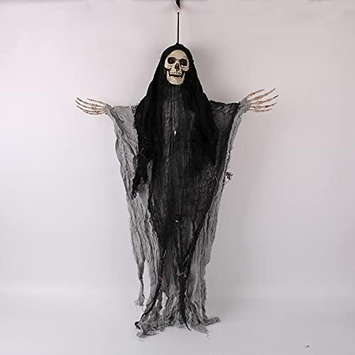 Ejfhfh Halloween Esqueleto Fantasma con Luces, Control De Voz Colgando Fantasmas Accesorios De Terror, Fiesta De Halloween Patio Al Aire Libre DecoracióN De La Pared del Hogar Negro