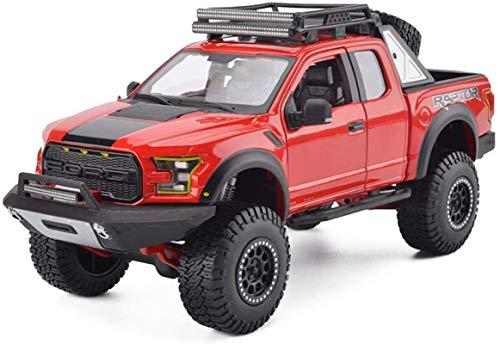 hclshops Modelo de Coche Ford F150 Raptor SUV SUV camioneta Pickup 1,24 simulación de fundición a presión de aleación de Coches de Juguete (Color, Rojo), Negro (Color : Red, Size : One Size)
