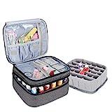Luxja organizador de esmaltes de uñas, esmaltes de uñas estuche, porta esmaltes de uñas- Sostiene 30 botellas (15 ml - 0.5 fl.oz), bolsa de almacenamiento de doble capa para lacas y manicuras, Gris