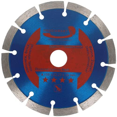PRODIAMANT Disco de corte de diamante (150 x 22,2 mm, 10 mm, larga duración, segmento para hormigón, piedra, ladrillo, disco de diamante universal, 150 mm)
