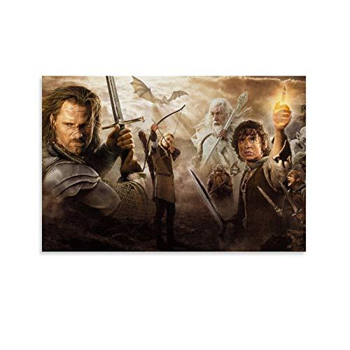 DRAGON VINES Póster de la trilogía del Señor de los Anillos de Gandalf Aragón Legolas para pared sobre lienzo de cómics de dibujos animados de 50 x 75 cm
