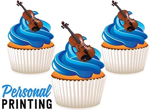 PP - Viool - Muziekinstrumenten Mix 12 Eetbare Stand up Premium Wafer Card Cake Toppers Decoraties