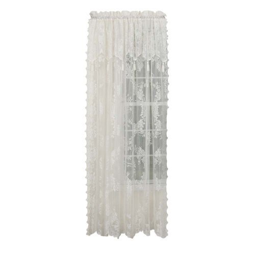 """Stylemaster Carly Lace Panel with Attached Valance, 56"""" X 63"""", Ecru"""